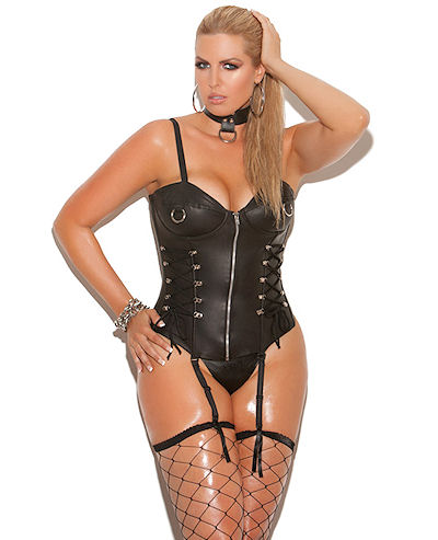 Zip Front Leather Corset XL