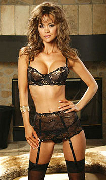 Black with Gold Lace Embroidered Bra Set